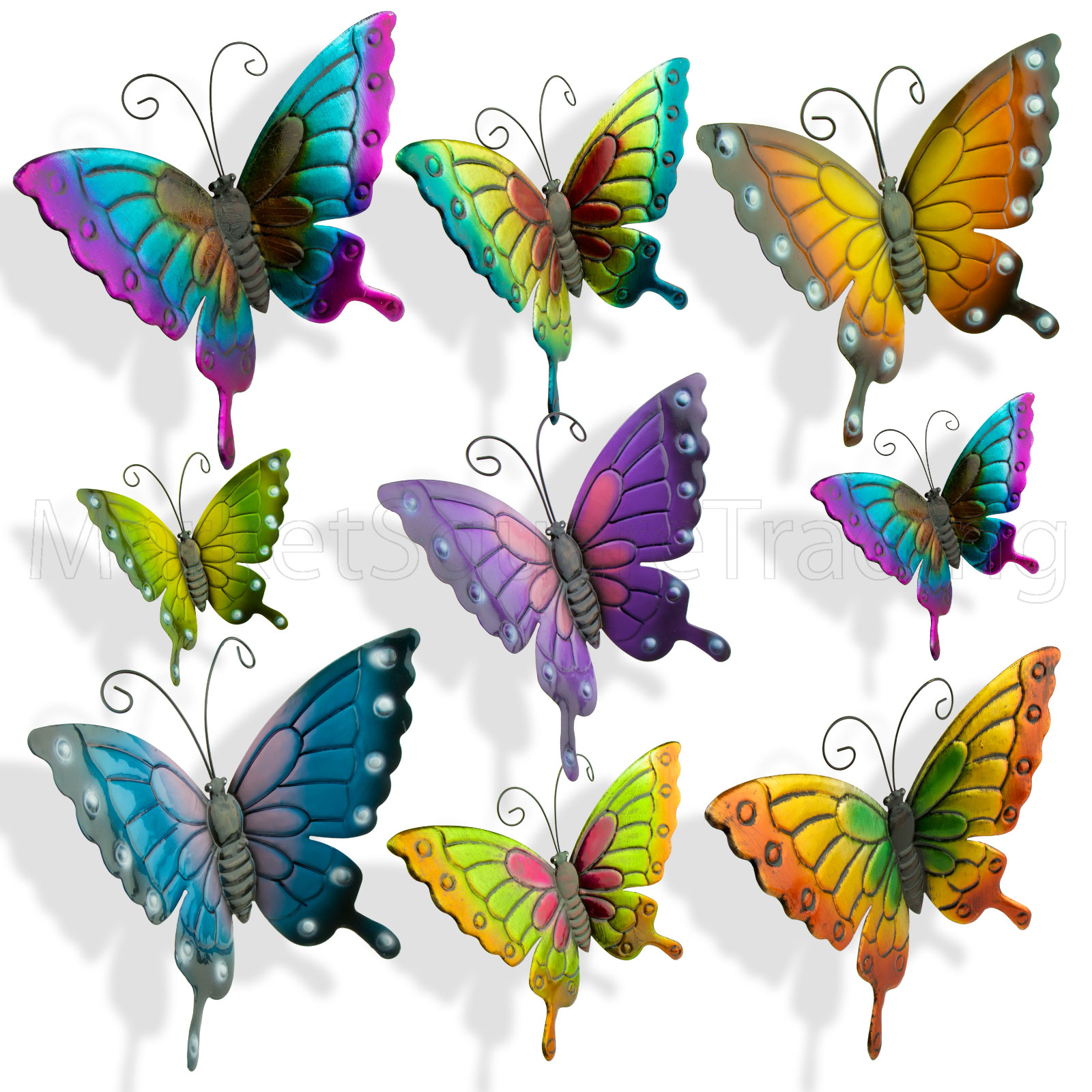 BUTTERFLIES LARGE XLARGE PAINT COLOURED METAL WALL ART OUTDOOR GARDEN DECORAT