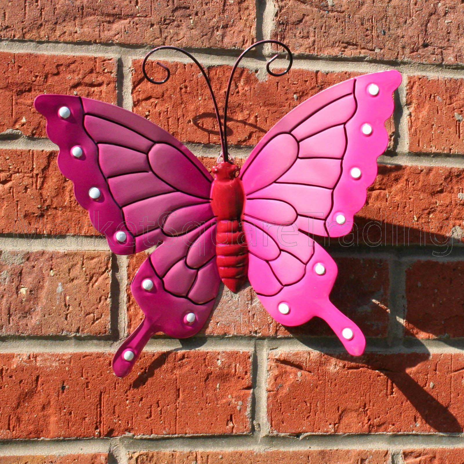 BUTTERFLY LARGE PINK METAL BUTTERFLIES WALL ART OUTDOOR ...