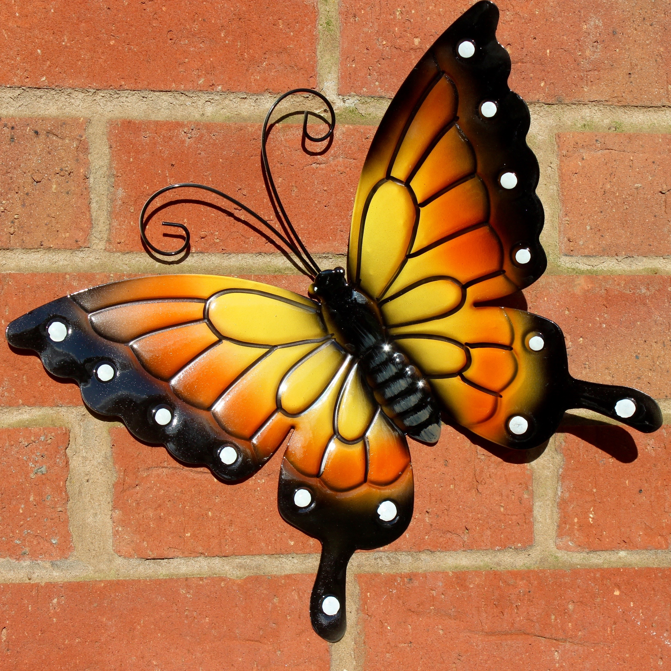 Butterflies garden decoration multi coloured metal outdoor for Outdoor garden wall decor